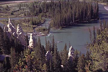 die Erdpyramiden von Hoodoos im Jasper Nationalpark, Westkanada