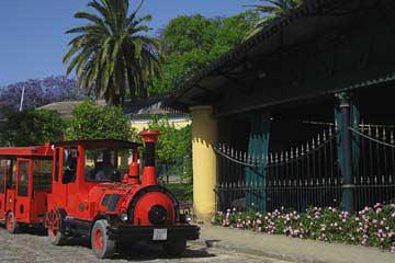 Der Besucherzug für die Rundtour bei Tio Pepe in Jerez de la Frontera