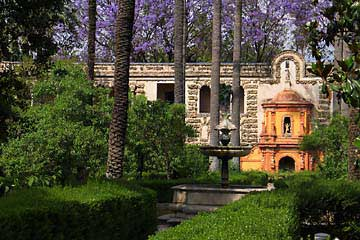 Die Gärten Jardines de los Reales Alcázares in Sevilla