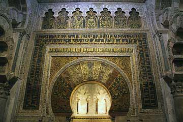 Die arabische Gebetsnische Mihrab in der Mezquita in Cordóba