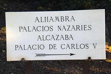 Wegweiser innnerhalb der Alhambra