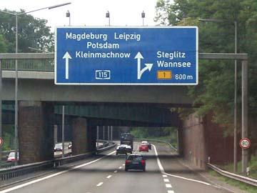 Auf der A115 nach Potsdam