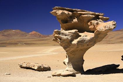 Der markante Arbol de Piedra im Altiplano von Bolivien