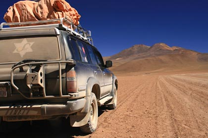 Unser Defender hat einiges mitgemacht auf der Strecke im bolivianischen Altiplano