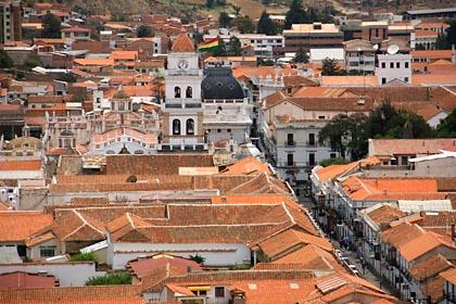 Blick vom Mirador de Ricoleta auf die Stadt Sucre in Bolivien