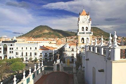 Aussicht von der Präfektur auf die Kathedrale und Sucre