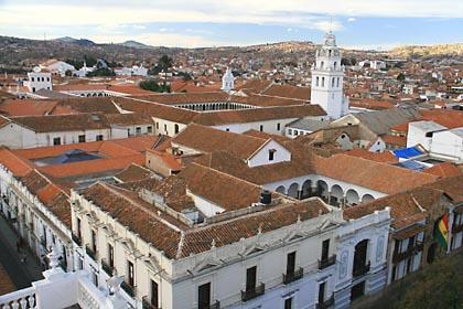 Ausblick auf die koloniale Altstadt von Sucre in Bolivien