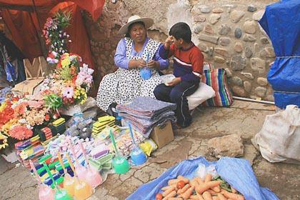 Verkaufsstände im Mercado Central von Sucre