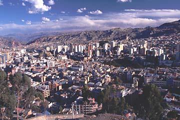 Aussicht über die Stadt vom Mirador K'illy K'illy, La Paz, Bolivien