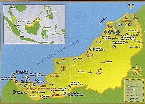 Landkarte Borneo Sarawak und Sabah, Malaysia