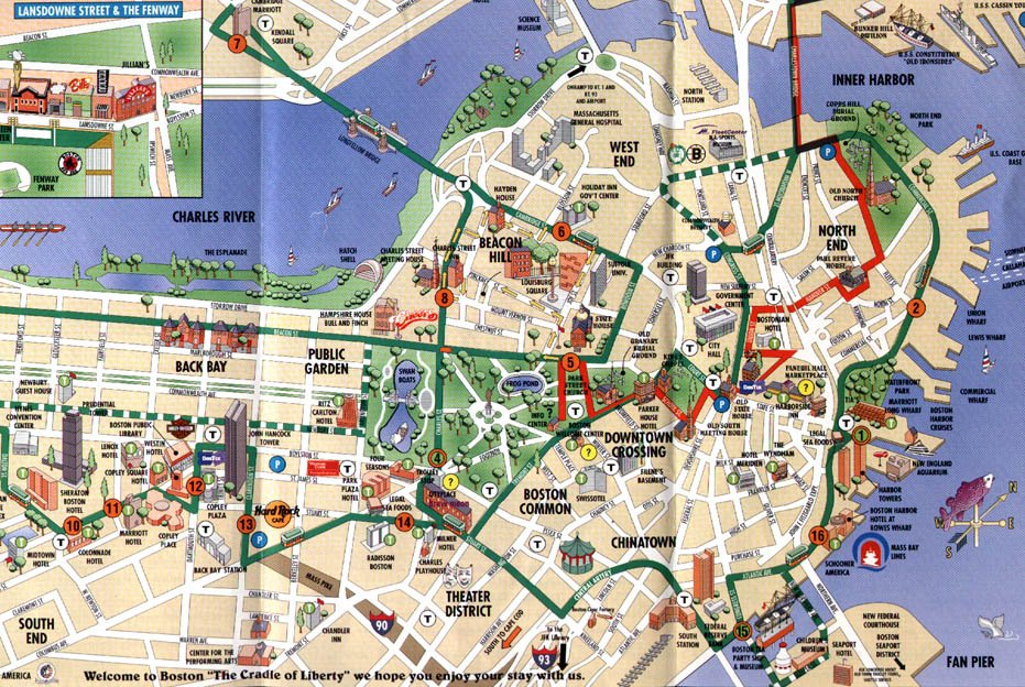 Boston Spadtplan Der Innenstadt Entlang Des Freedom Trails