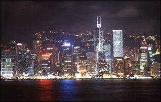 Die Skyline von Hong Kong bei Nacht