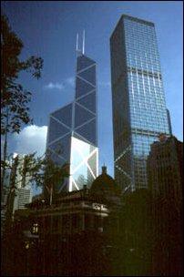 das markante Gebäude der Bank of China in Hong Kong