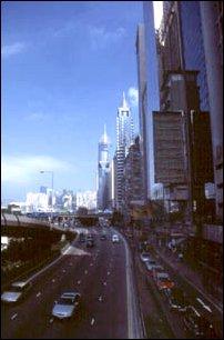 eine Straßenschlucht in Victoria, Hong Kong