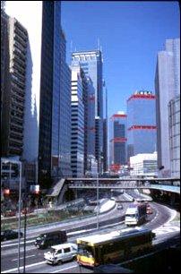 Straßenschlucht in Victoria, Hong Kong