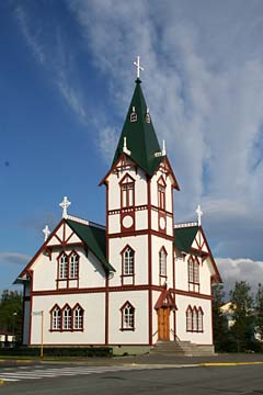 zweistockige Kirche in Husavik, Nordisland