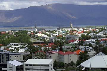 Reykjavik, Aussicht auf die Stadt von der Glaskuppel Perlan, Island, Südwesten