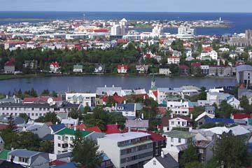 Aussicht auf Reykjavik vom Turm der Hallgrimskirche, Südwestisland