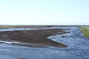 Gletscherflüße in Sanderflächen im Süden von Island