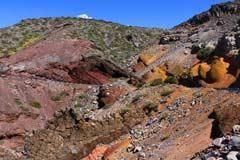 Farben der Vulkanfelsen auf dem Weg zum Roque de los Muchachos auf La Palma