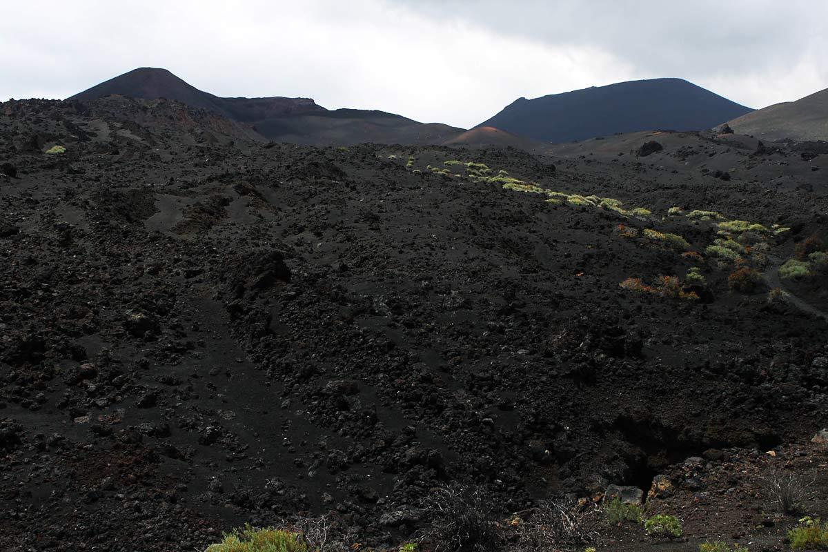 Eine Hang mit schwarzer Lava an der Cumbre Vieja auf La Palma