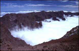 Wolken in der Caldera, La Palma, Kanaren