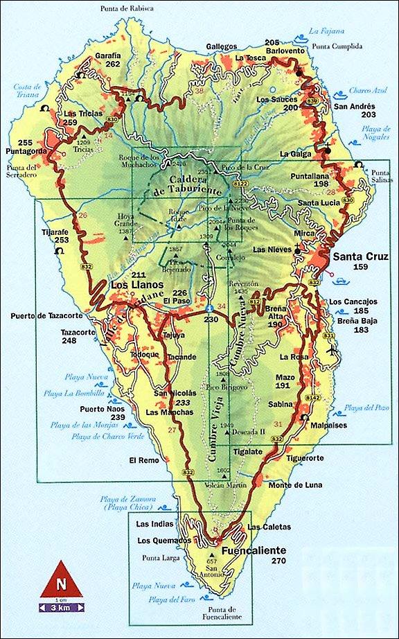 la palma karte Karte La Palma   Landkarte und Übersicht Sehenswürdigkeiten