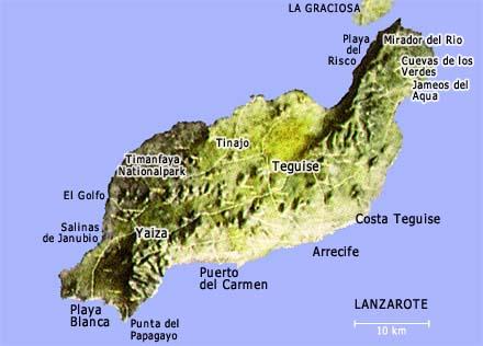 Landkarte Lanzarote, kanarische Inseln