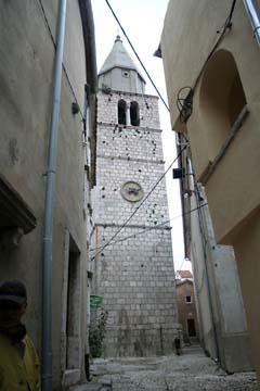 alter Kirchturm in Vrbnik, Insel Krk, Kroatien