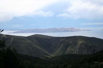 Ausblick vom Velebit-Gebirge auf die Inseln, Kvarner Berggebiet, Kroatien