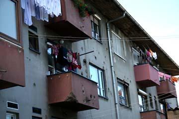 Einschüsse in Häuser, Gospic, Kroatien