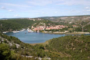 Rückblick auf Skradin, Kroatien