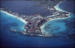 Anflug auf Cancun in Mexiko