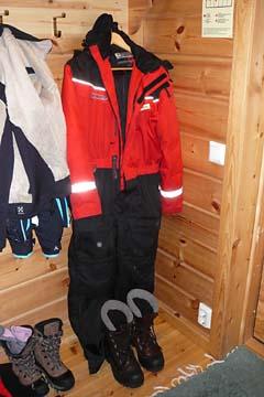 Unsere Garderobe im Hotel in Lappland