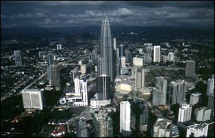 Blick auf die Petrona Tower, Kuala Lumpur, Malaysia