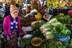 Der Markt von Nyaung U bei Bagan in Myanmar