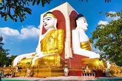 Die Kyaikpun Pagode mit den vier 27 m hohen sitzenden Buddhas in Bago