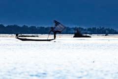 Ein Einbeinfischer mit Rundnetz nach Sonnenuntergang am Inle-See in Myanmar