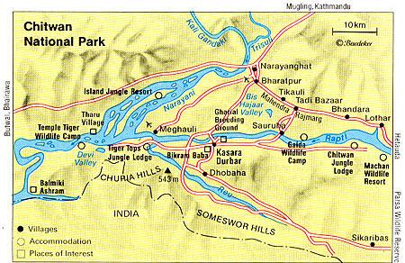 Landkarte Chitwan Nationalpark, Nepal