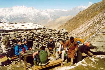 Rast auf dem Weg zum Thorong-La Pass, Annapurna, Nepal