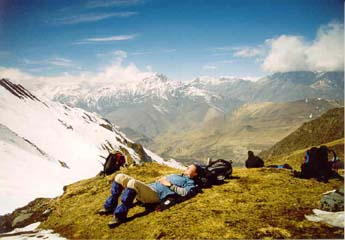 Blick auf den Thorong-La-Pass, Annapurna, Nepal
