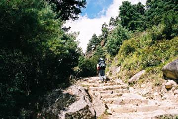 Steintreppen hinauf nach Namche Bazar, Everest-Region, Nepal