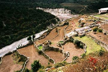 Terrassenfelder auf dem Weg nach Dingboche, Everest-Region, Nepal