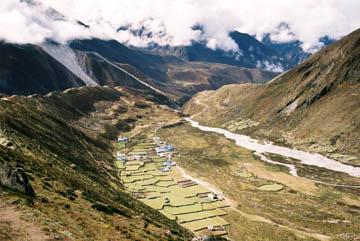 Blick auf Pheriche, Everest-Region, Nepal