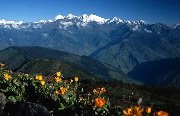 Aussicht auf die 8000er der Annapurna Range in Nepal