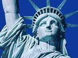 Die Freiheitsstatue auf der vorgelagerten Freedom Island