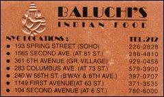 Baluchi's Indian Food, New York