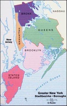 die Stadtteile (Boroughs) von New York, USA