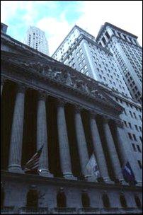 die Wall Street im Financial District, New York