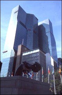 das Gebäude der United Nations in Midtown, Manhattan